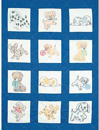 Puppies Nursery Quilt Blocks - Embroidery Kit