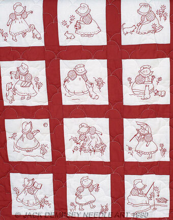 Sunbonnet Girls Nursery Quilt Blocks - Embroidery Kit
