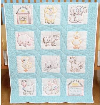 Farm Animals Nursery Quilt Squares Embroidery Kit