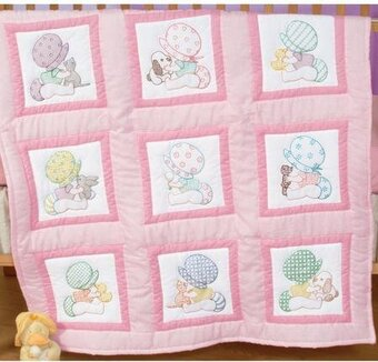 Sunbonnet Babies Nursery Quilt Blocks - Cross Stitch