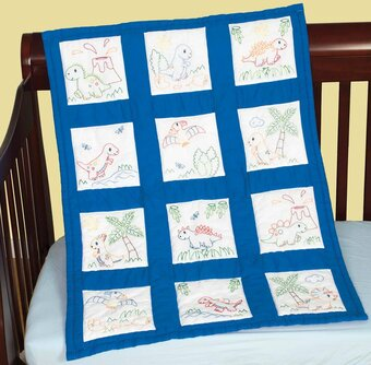 """1 Jack Dempsey  /""""Puppies/""""  Stamped Embroidery Nursery Quilt Blocks"""