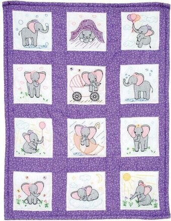 Elephants Nursery Quilt Blocks - Stamped Cross Stitch Kit