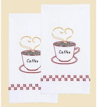 Coffee Time Decorative Hand Towels - Embroidery Kit