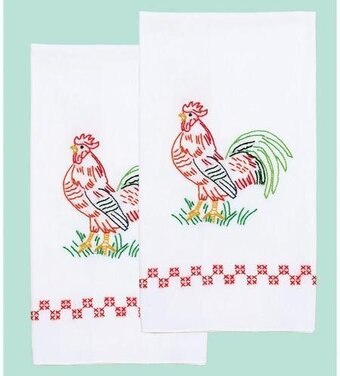 Rooster Decorative Hand Towels - Embroidery Kit