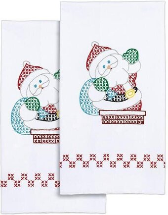 Santa Christmas Hand Towels - Stamped Cross Stitch Kit