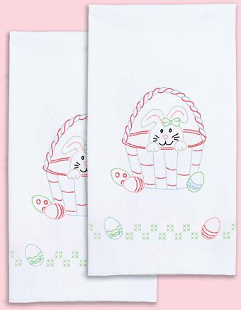 Jack Dempsey Stamped  Embroidery Pair Christmas Decorative Hand Towels SANTA