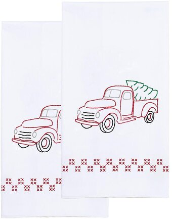 "Jack Dempsey Stamped Decorative Hand Towel Pair 17/""x28/""-cardinal"