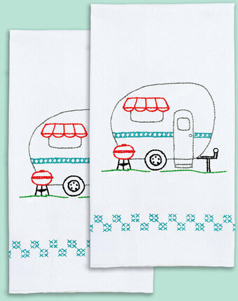 Camper Decorative Hand Towels - Embroidery Kit