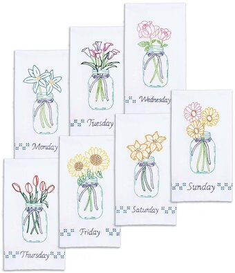 Mason Jar Bouquets Decorative Hand Towels - Embroidery Kit