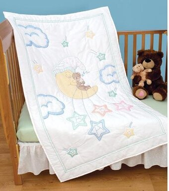 Jack Dempsey Needle Art Bear On The Moon Crib Quilt Top