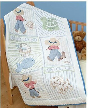 Jack Dempsey Needle Art Little Boy Crib Quilt Top - Stamped Cross ... : quilt top stitching - Adamdwight.com