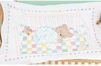 Jack Dempsey Needle Art Snuggly Teddy Crib Quilt Top - Embroidery ... : baby quilts to embroider - Adamdwight.com