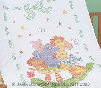 Giraffe and Friends Crib Quilt Top Stamped Cross Stitch Kit