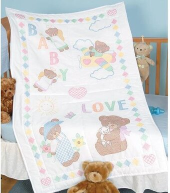 Jack Dempsey Needle Art Baby Love Bears Crib Quilt Top