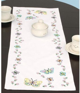 Fluttering Butterflies Table Runner/Scarf - Embroidery Kit