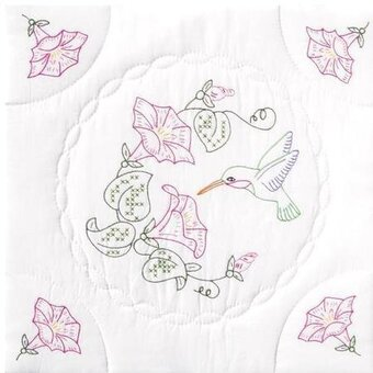 Interlocking Hummingbird & Morning Glories Quilt Squares