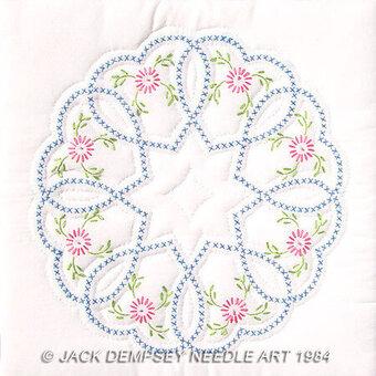 Jack Dempsey Needle Art XX Swirls Quilt Block white