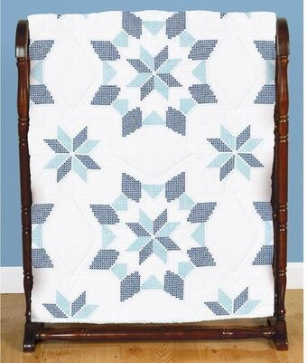 Interlocking Western Star White Quilt Blocks Cross Stitch