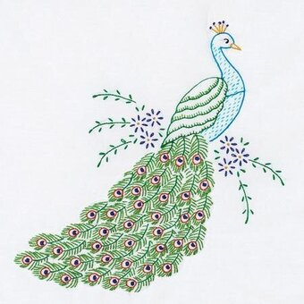 "Peacock 18"" White Quilt Blocks - Embroidery Kit"