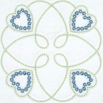 "Four Hearts 18"" Quilt Blocks - Stamped Cross Stitch Kit"