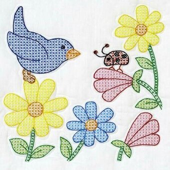 "Birds and Flowers 18"" Quilt Blocks Stamped Cross Stitch"