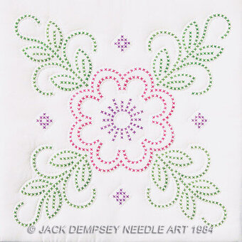 Jack Dempsey Needle Art Floral Design 18 Quilt Blocks Stamped Cross