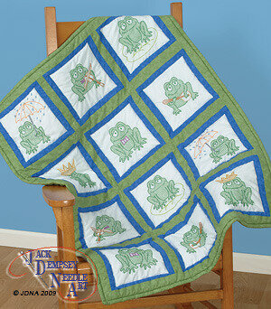 "Frogs 9"" Quilt Square Theme - Embroidery Kit"