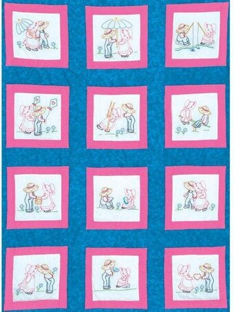 "Sunbonnet Sue and Sam 9"" Theme Quilt Blocks - Embroidery"