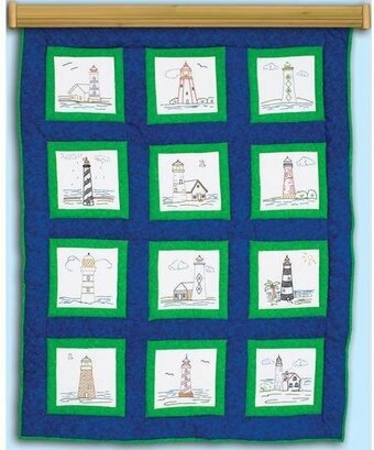 "Lighthouses 9"" Theme Quilt Blocks - Embroidery Kit"