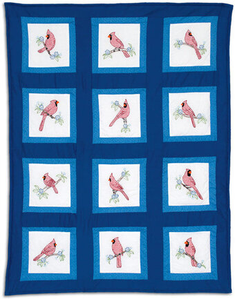 Cardinals Theme Quilt Blocks - Stamped Cross Stitch Kit
