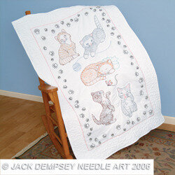 Kitty Cats Lap Quilt Top - Embroidery Kit