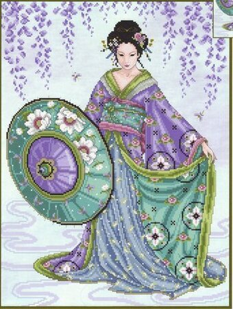 Blue Geisha - Cross Stitch Pattern