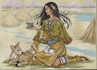 Native American Maiden - Cross Stitch Pattern