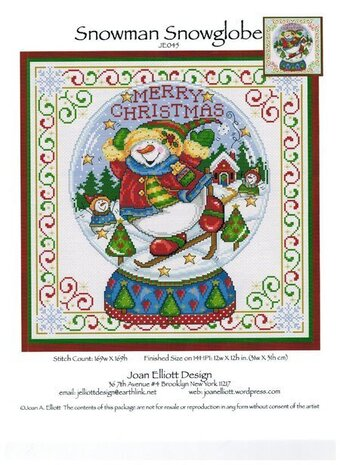 Snowman Snowglobe - Cross Stitch Pattern
