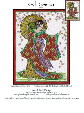 Red Geisha - Cross Stitch Pattern