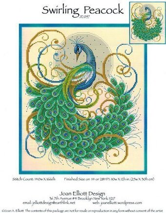 Swirling Peacock - Cross Stitch Pattern