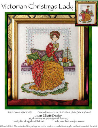 Victorian Christmas Lady - Cross Stitch Pattern