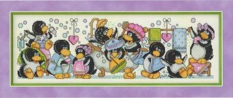 Rub-A-Dub Penguins - Cross Stitch Pattern
