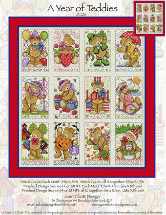 A Year of Teddies - Cross Stitch Pattern