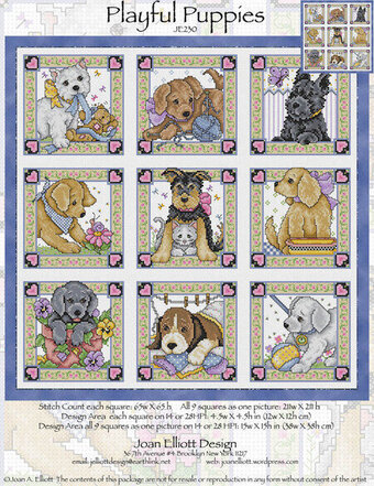Playful Puppies - Cross Stitch Pattern