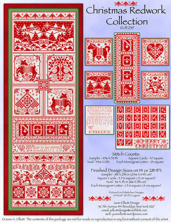 Christmas Redwork Collection - Cross Stitch Pattern
