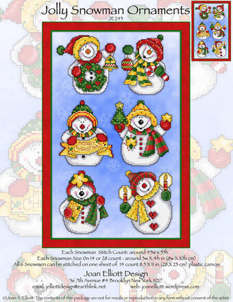 Jolly Snowman Ornaments - Cross Stitch Pattern