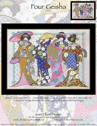 Four Geisha - Cross Stitch Pattern