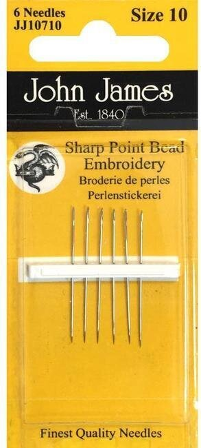 John James Beading Hand Needles Size 10 Sharp Point