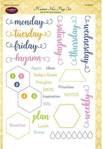Justrite Planner Hex Page Clear Stamps