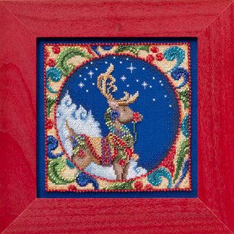 SANTA Counted Cross Stitch Kit  JIM SHORE SNOWMAN MILL HILL REINDEER TREE