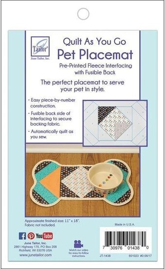 Pet Placemat - Dog Bone - Quilt As You Go Pet Placemat Kit