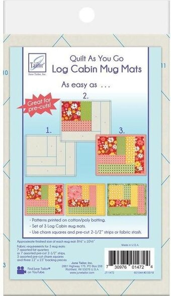 Log Cabin Mug Mats - Quilt As You Go Mug Mats Kit