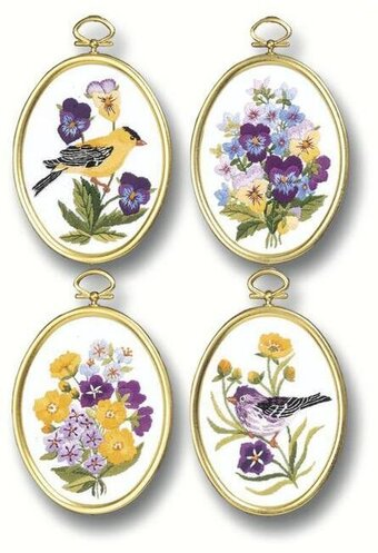 Wildflowers And Finches (4) - Embroidery Kit