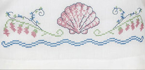 Seashells Pillowcase Pair - Stamped Cross Stitch Kit